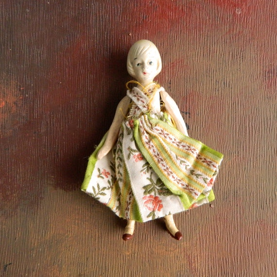 "Vintage Bisque 6"" Doll with Blonde Pageboy Hair Japan"