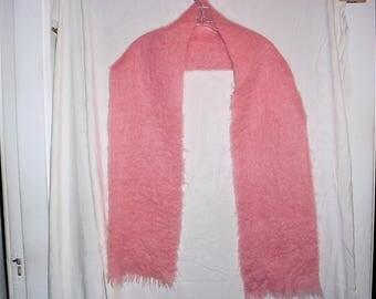 Vintage 70s Pink Mohair Wool Muffler Scarf