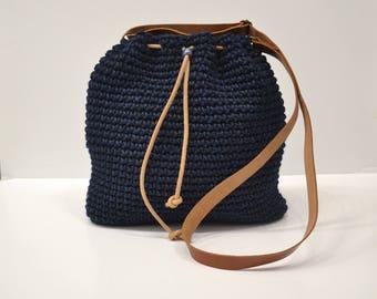 Dark Blue Crochet crossbody bag, Bucket bag, Drawstring bag