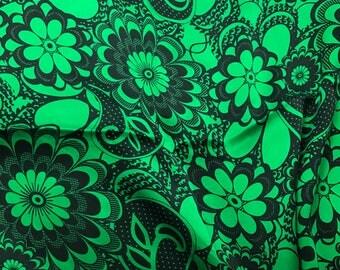 Hand Dyed Silk CHARMEUSE Fabric Bright Kelly Green Boho Floral - 1 Yard