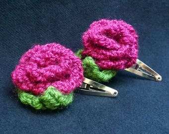 Hand Knit Pair of Bright Pink/Magenta Rose Hair Barrettes/Clips