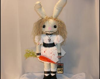 OOAK Hand Stitched Easter Bunny Inspired Rag Doll Creepy Gothic Horror Folk Art By Jodi Cain Tattered Rags