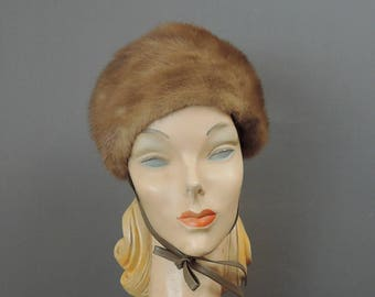 Vintage Mink Fur Hat,  fits 21 inch head, with Chin Ties, 1960s