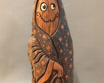 HAND CARVED original Jack-O-Lantern man carrying a JOL from 100 year old Cottonwood Bark.
