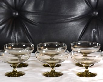 Russel Wright Morgantown Sherbet Glasses, Set of Six Champagne Smoke Gray