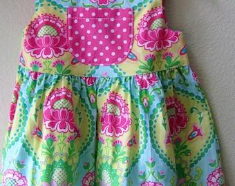 Little Girls Pink Green Henna Floral Summer Beach Dress, Easter Dress, Back To School Dress, Spring Sundress, Toddler Dress, Boutique Dress