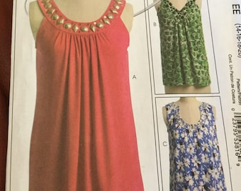 McCalls 5586 Misses Loose Fitting Summer Top Pattern. Size 14-20, uncut