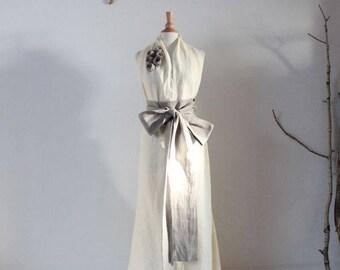 custom linen chic halter floor length dress with obi and roses / custom wedding dresses / linen party dress / alternative wedding dress /