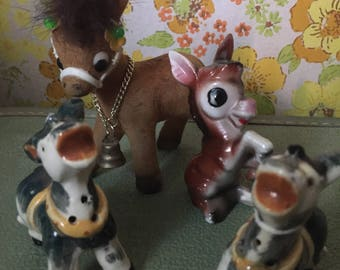 Vintage lot of Donkey figurines knick knacks