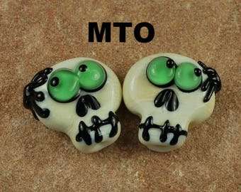 Glass Lampwork Beads,  Made To Order, Skull, Day of the Dead, Spiders, Halloween, Earring Beads SRA #266 by CC Design