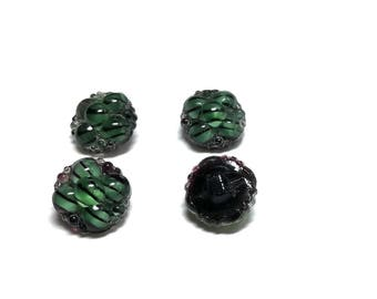 Group Of Four Vintage  Black Glass Moonglow Buttons With Berry Tops And Stripes