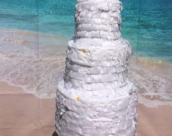 Plain White Large Wedding Cake Piñata 17X11X11 inches