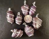 Ruby Corrundum Pendant, Ruby Pendant, Ruby Gemstone, Gemstone Pendant, Jewelry Supplies, Wire Wrapped Pendant, Wire Wrapped Stone, Tumbled