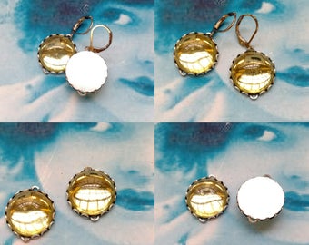 Vintage Czech Glass Yellow 18mm Cabochons In Sterling Silver Ox Plated Lace Edge Settings with Earring Kit Option  540SOX x2