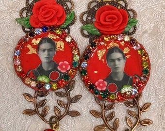 Lilygrace Frida Red Cameo Earrings with Vintage Rhinestones