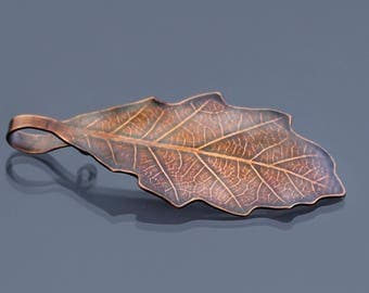 Small Bur Oak Leaf Ornament, copper leaf ornament, metal ornament, botanical decor, leaf pendant, hostess gift