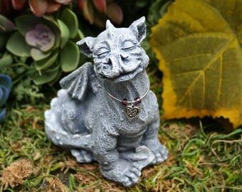 Baby Dragon Statue - Sweet Celtic Dragon - Concrete Dragon - Outdoor Garden Decor