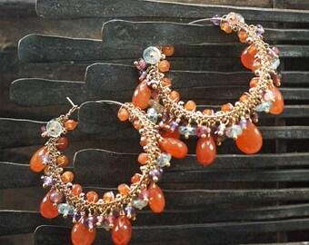 Summer SALE Carnelian, Garnet, Pink Tourmaline, Blue Zircon, Amethyst, 14k Gold Filled hoop earrings, Summer earrings ... HIKARU Earrings