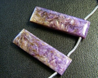 Top Grade Charoite Polished Baguettes - Pair - 9.5x31.5mm
