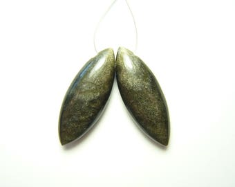 Green Sheen Obsidian Polished Marquise Drops - Pair - 8.5x23mm