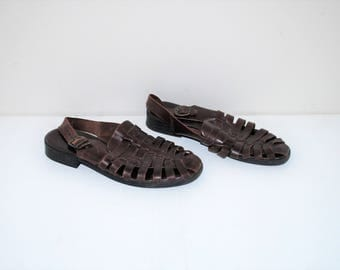 brown leather woven sandals 90s vintage slingback huaraches fisherman sandals size 8.5
