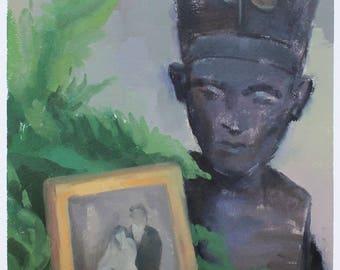 nefertiti painting / fern painting / still life oil painting / nefertiti bust
