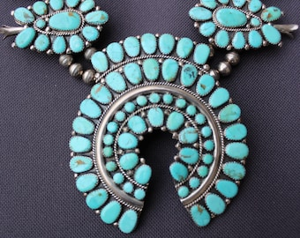 Huge Vintage Sterling Silver & Turquoise SQUASH BLOSSOM Necklace and Earrings