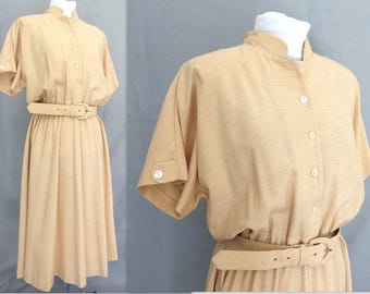 Vintage 1980's Tan Dolman Dress, Modern Size 8 to 10, Small to Medium
