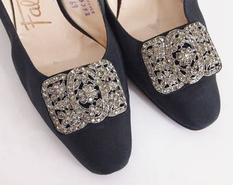 60s Black Silk Slingback Pumps Shoes with Antique-look Rhinestone Buckles 8N
