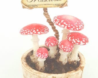 1/12TH scale - potted Amanita muscaria - fairy mushrooms