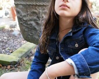 Kid's Silver Cuff, Hammered Cuff, Rustic Silver Bracelet, Children's Jewelry