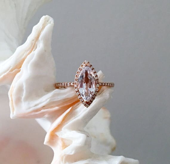 Marquise engagement ring. Rose gold diamond ring engagement ring with 1.65ct white sapphire. Engagement rings by Eidelprecious.