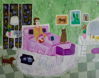 Carlotta Satterfield alternately worries that she may or may not be a hypochondriac. Original oil painting by Vivienne Strauss.