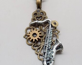 Steampunk jewelry. Steampunk saxophone necklace pendant.