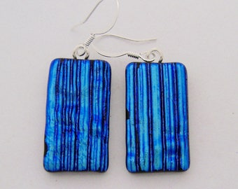 Dichroic glass dangle earrings
