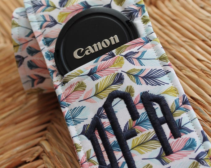 Featured listing image: Camera Strap Cover with Lens Cap Pocket Custom Made to Order with Monogram DSLR Digital Photography Photographer Unique Personalized Gift