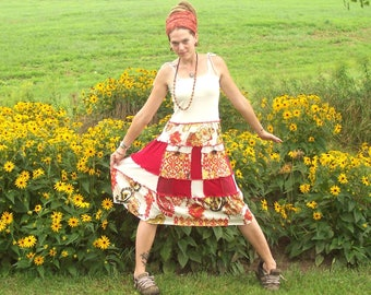 GRATEFUL ~ Organic Cotton and Hemp ~Roses ~ Ecofriendly Gypsy Patchwork Hippie Dress Adjustable with Pockets