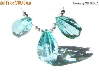 50% Off Sale 3 Pc Set of AAA Aqua Quartz faceted Fancy Briolettes Large 21x12 - 25x14mm
