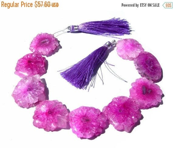 50% Off Sale 8 Inches -- Pink Solar Quartz Stalactite Slices Round Coin Beads 21mm - 24mm approx