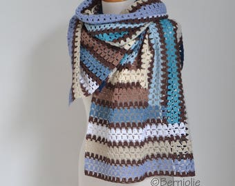 Crochet shawl, stripes, Q534