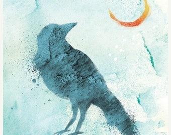 50% Off Summer Sale - Raven Art Moon Print - Call of the Moon - 8x10 Print