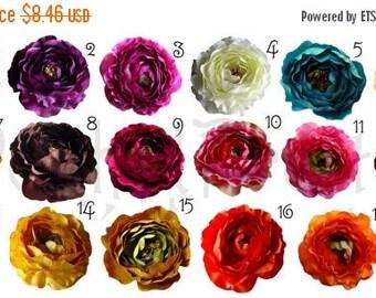 20% OFF EXP 06/30 5 PCS Medium Ruffle Ranunculus Rose flowers - 3 inches- Pick Colors