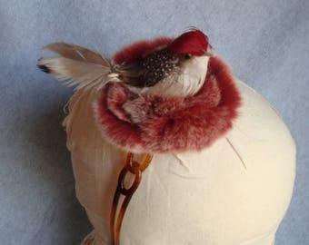 Bird Headband Rabbit Fur Nest Robin Red Bird Feathers Winter Hair Accessory Girls Womens Hair Band Fascinator One Size