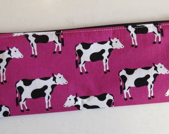 Cow pencil case - cow print pouch