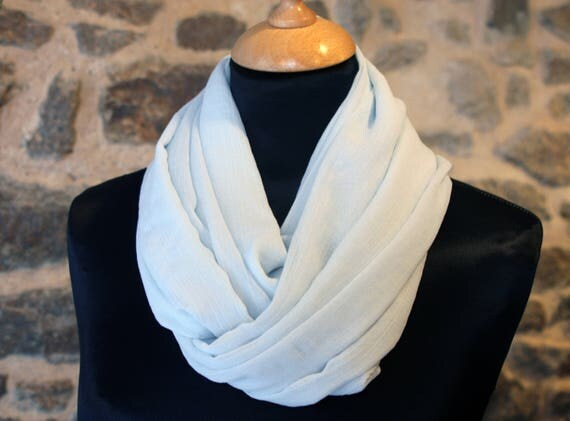 Scarf Snood in light blue silk Crepe.