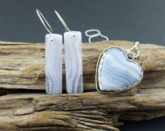 Argentium silver and blue lace agate bar earrings