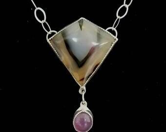 "Montana Agate and Purple Chalcedony ""Big Sky"" necklace"