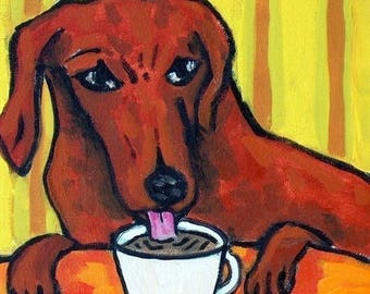 20 % off storewide Dachshund at the Coffee Shop Dog Art Tile Coaster Gift  JSCHMETZ pop art FOLK art MODern