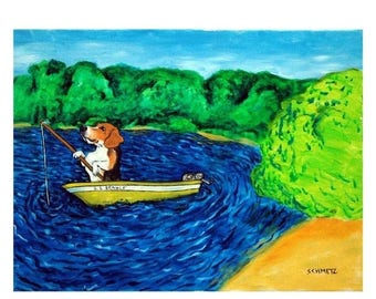 20% off storewide beagle, beagle art, beagle print, 11x14 print, beagle gift, dog art, modern folk art, fishing, gift for fishing lover,