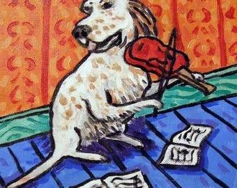 20% off English Setter Playing the Violin Dog Art Tile Coaster Gift JSCHMETZ abstract modern pop folk art
